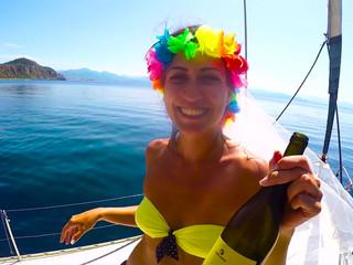 Addio al nubilato Stefania in barca a Vela